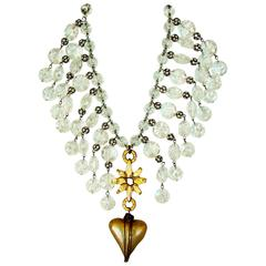 Stephanie Lake Design Antique Glass Heart Crystal Collar Necklace One-Of-A-Kind