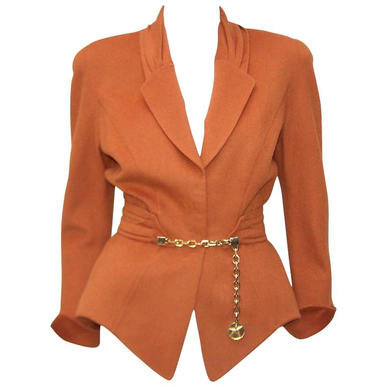 1980's Thierry Mugler Pumpkin Wool Wasp Waist Jacket With Chain Closure For Sale