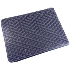 Goyard Blue Monogram Zipper Portfolio Document Case / Clutch Bag - computer Bag