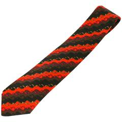 Pucci Orange and Brown Swirl Print Tie