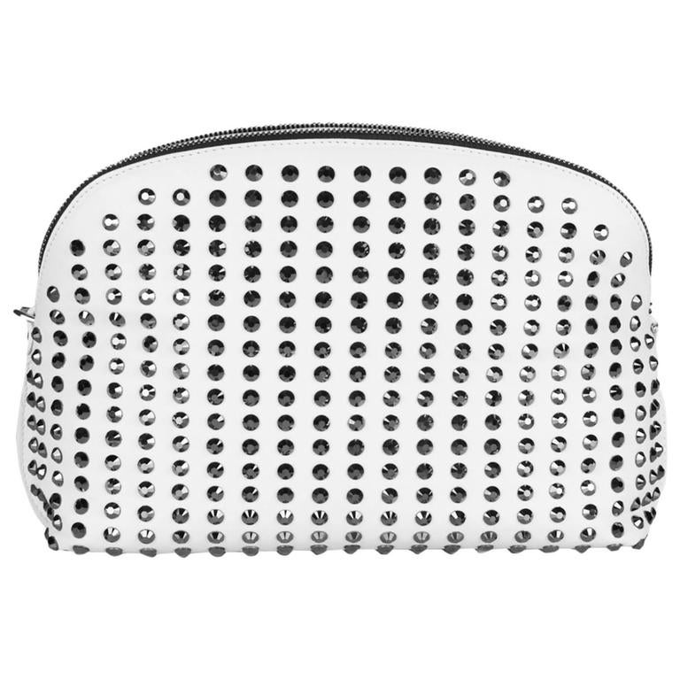 Versace white crystal embellished nappa leather clutch