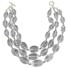 Large Chunky Rock Crystal Triple Strand Bead Necklace