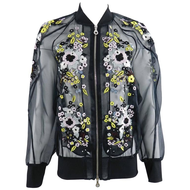 Erdem Danni Sheer Organza Silk Embroidered Bomber Jacket 1