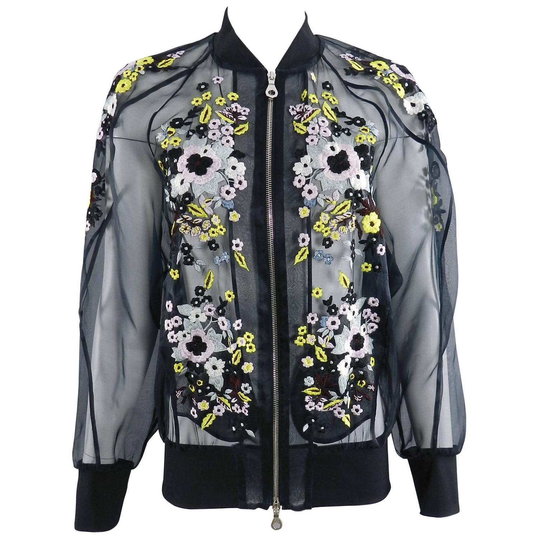 Erdem danni sheer organza silk embroidered bomber jacket