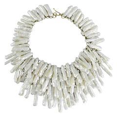 Eileen Coyne Long Biwa Freshwater Pearl Layered Bib Necklace