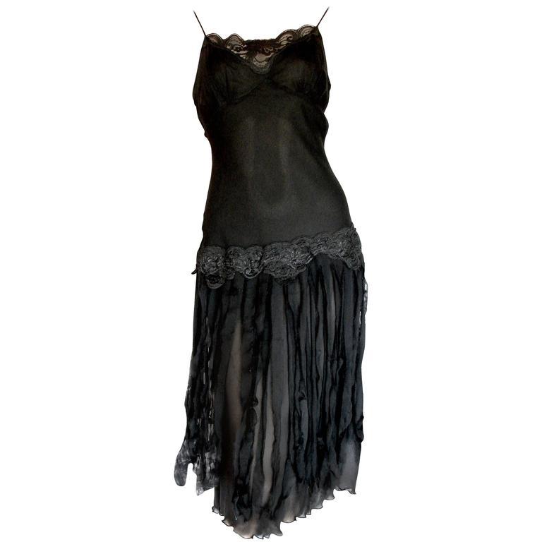 Betsey Johnson Black Silk Slip Dress with Car Wash Skirt Size 6 1990s