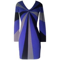 Alexander McQueen Resort 2010 Blue Grey Black Starburst Swirl Bodycon Knit Dress