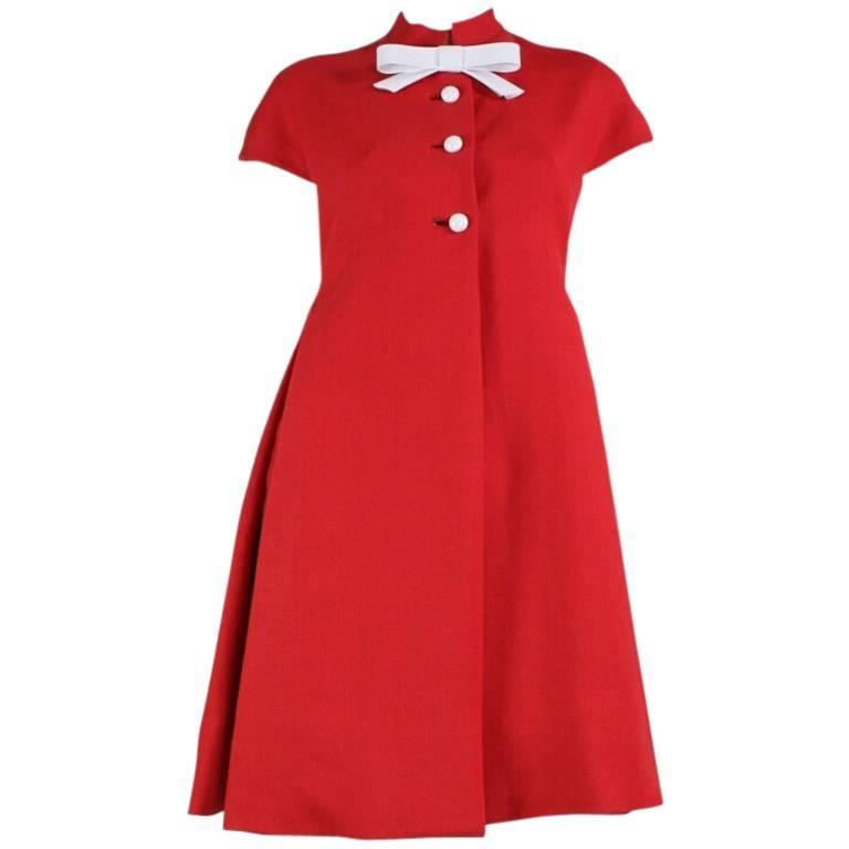 1960's Geoffrey Beene Red Linen Babydoll Dress 1