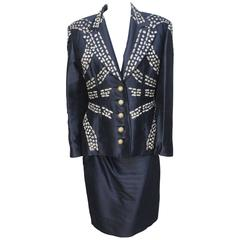 Vintage 1980's Valentino Gold Metallic Embroidered Suit