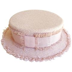 Chanel Pink Tweed Grosgrain Bow Trim  Runway Chapeaux Hat