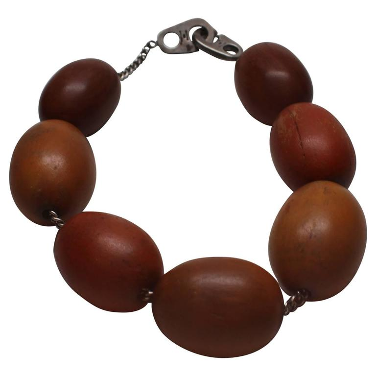 Patricia Von Musulin Wood Sterling Silver Choker Necklace  For Sale