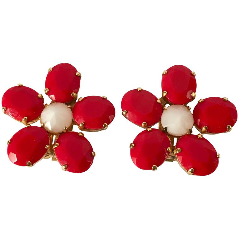 1960s Schreiner Red Flower Earrings 1
