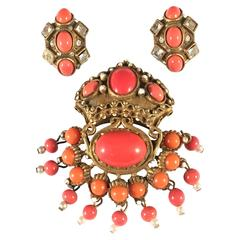 Rare 1960s Kenneth Jay Lane Coral Colored Brooch and Earring Set