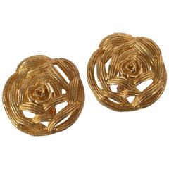Christian Dior Large Goldtone Rose Earrings