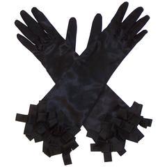 Glamorous C.1960 Black Satin Evening Gloves With Ribbon Cuffs