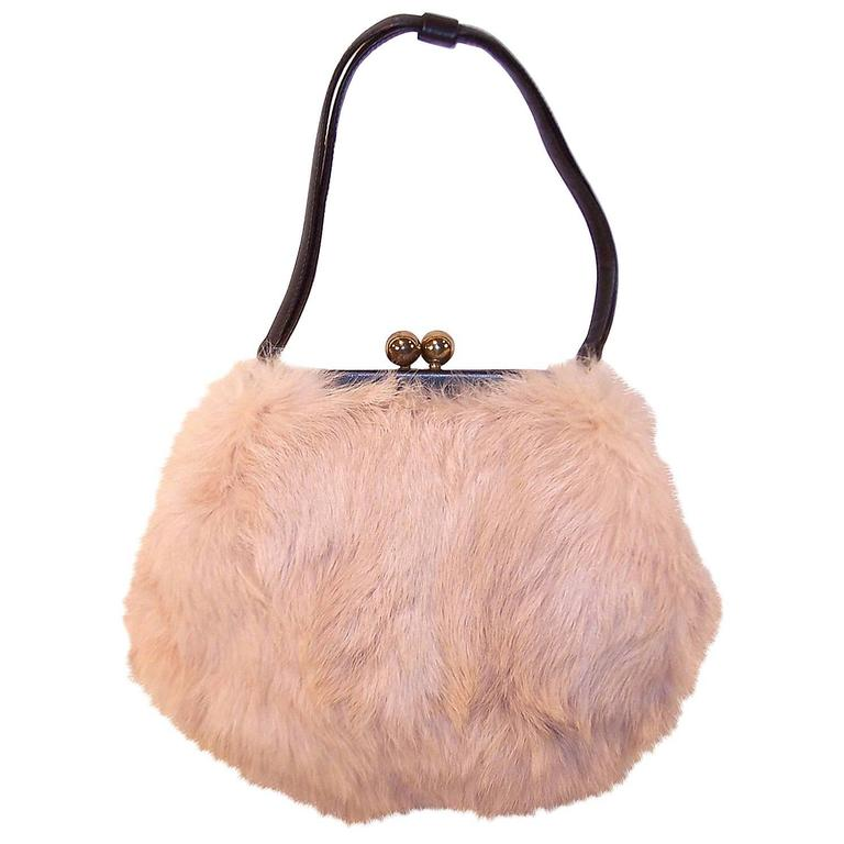 Fluffy 1950's Morris Moskowitz Pink Fur & Black Leather Handbag For Sale