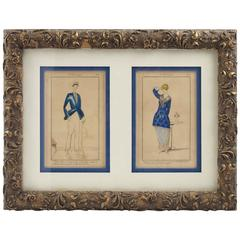 Les Années Folles Framed Colored Fashion Prints, France 1920s