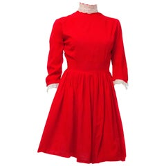 60s Red Babydoll Dress with White Eyelet Trim