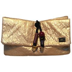 Louis Vuitton Gold Leather African Queen Masai GM Limelight Monogram Clutch