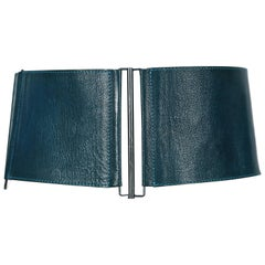 1990's LANVIN wide modernist belt in teal leather