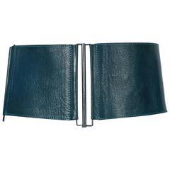 1990's LANVIN wide modernist belt in teal leather