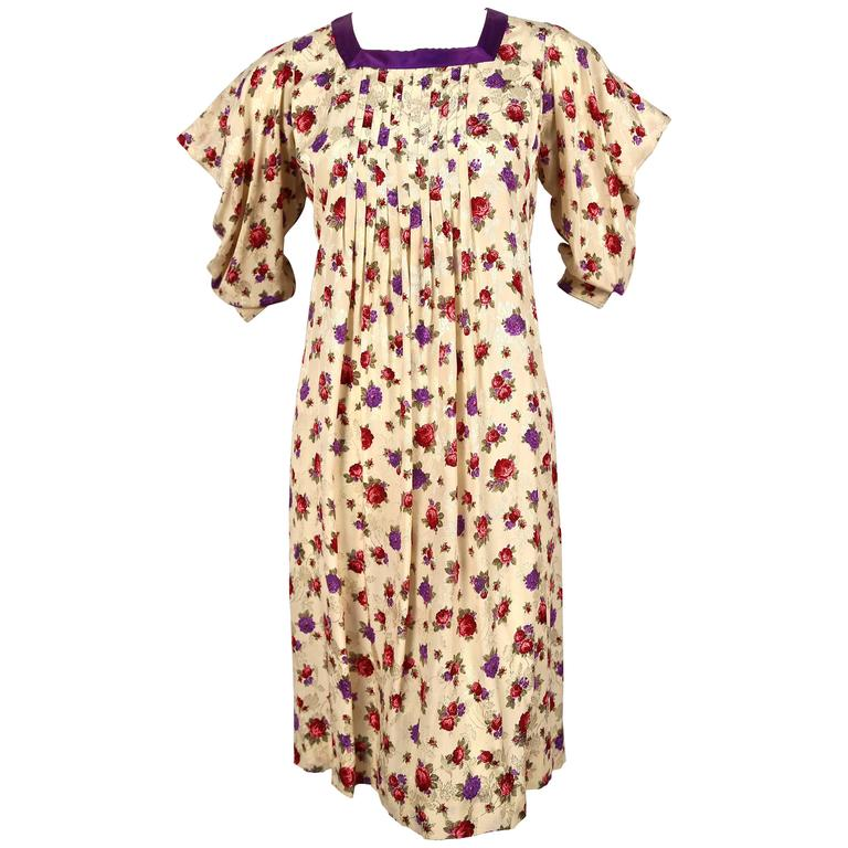 1980's EMANUEL UNGARO silk floral dress with peaked shoulders For Sale
