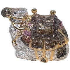 RARE Judith Leiber Swarovski Crystal Camel Minaudiere Evening Bag Clutch