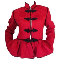 c1977-78 Collection Yves Saint Laurent Red Silk & Black Jacket