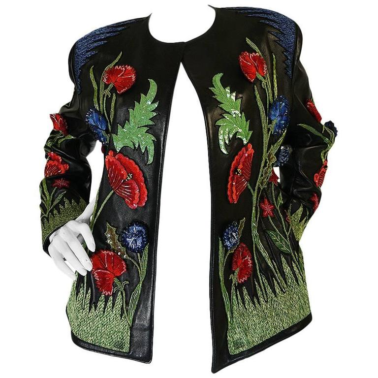 1987 Jean-Claude Jitrois Lesage 3D Floral Leather Jacket For Sale