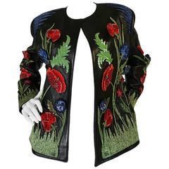 1987 Jean-Claude Jitrois Lesage 3D Floral Leather Jacket