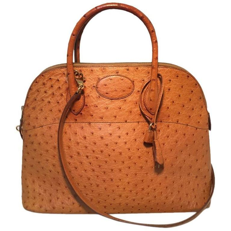 8642c2d8d489 Hermes Rare Tan Ostrich Bolide Handbag For Sale at 1stdibs
