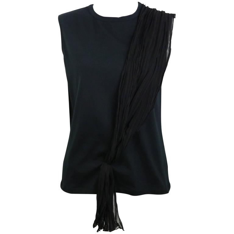 Dior Black Tank Top With Silk Wrap Details