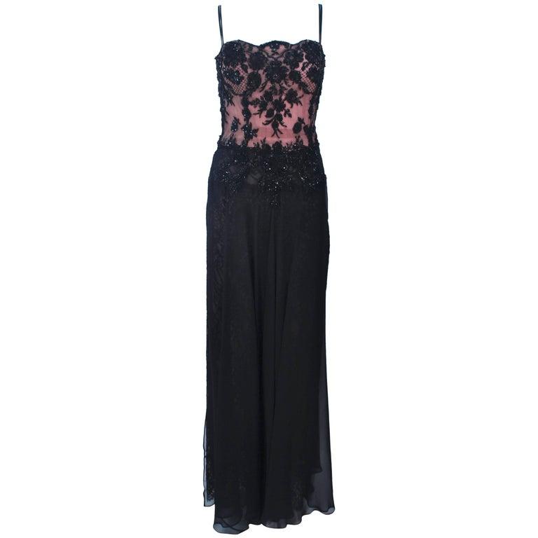 FE ZANDI Beverly Hills Beaded Black Lace Chiffon Gown Size 4 6 For Sale