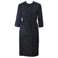 HAUTE COUTURE INTERNATIONAL 1960's Black Beaded Sequin Coat with Belt Size 6