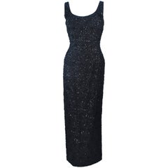 HAUTE COUTURE INTERNATIONAL 1960's Black Beaded and Sequin Lace Gown Size 6