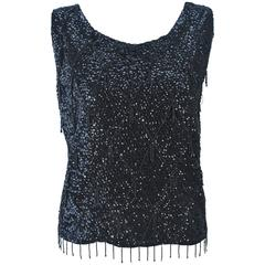 1960's Black Beaded and Sequin Blouse Size L