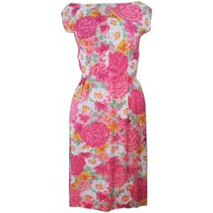 1960's Pink Multi-Color Floral Raw Silk Dress with Bow Size 2 4