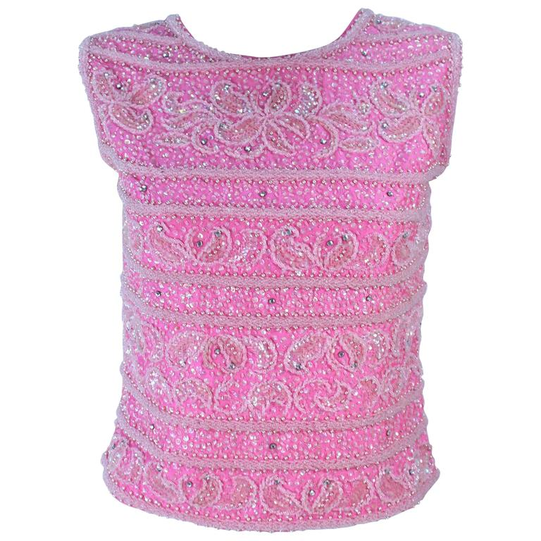 1960's Pink Beaded Zip Back Blouse Size 6 8