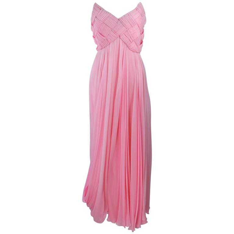 SCASSI Pink Draped Chiffon Gown with Criss-Cross Bodice Size 4 6