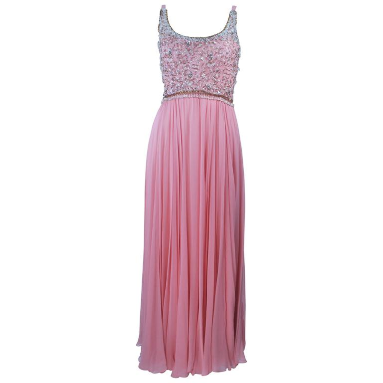 1960's Pink Gown with Embellished bodice and Jersey Skirt Size 2