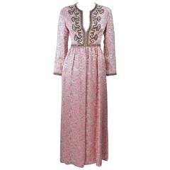 CEIL CHAPMAN 1960's Pink Paisley Brocade Gown with Beaded Applique Size 6 8