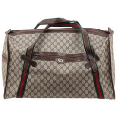 GUCCI VINTAGE Brown GG Monogram Canvas TRAVEL BAG Duffle w/ STRIPES