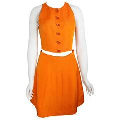 Chloe Orange Cropped Vest And Skirt Ensemble With Light Bulb Buttons