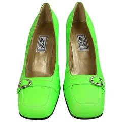 Gianni Versace Neon Green Leather Square Toe Heels