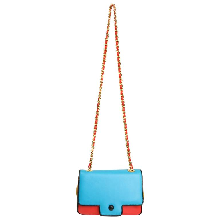 Pancaldi Colour Blocked Leather Gold Chain Crossbody Bag