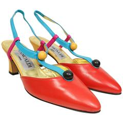 Pancaldi Colour Blocked Leather Slingback Shoes