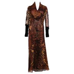 Jean Paul Gaultier Maille Femme Leopard Print Fuzzi Mesh Maxi Dress