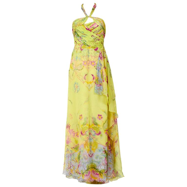 Valentino Silk Floral Print Halter Top Long Dress