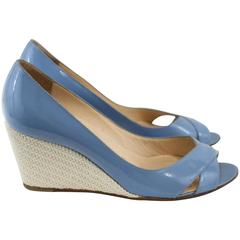 Louboutin Blue patented and Cord shoes S.36,5