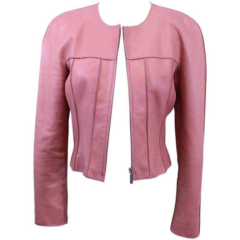 Chanel Pink Leather jacket Size 40 For Sale